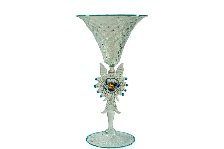 Coppa in vetro di Murano con fiore a docrazione del gambo