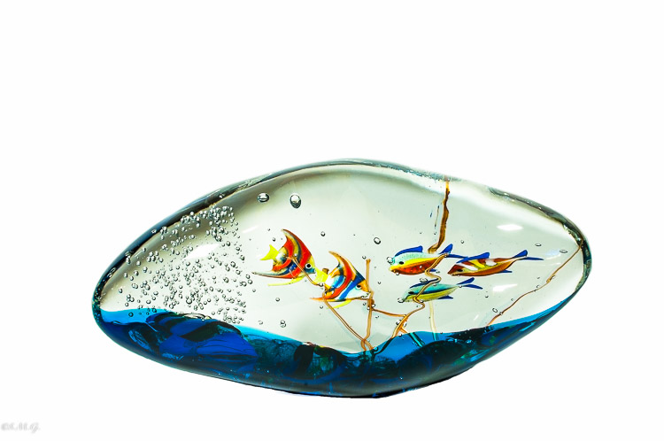 Murano Glass Fish tank in a cloud shape with 5 fish