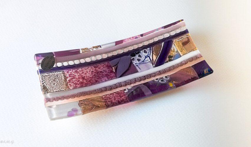 Ametist rectangular plate with Murano Glass gold and murrina