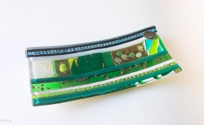 Green rectangular plate with Murano Glass gold and murrina