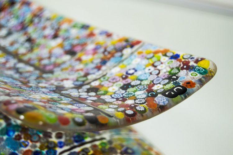 Details of Murano Glass rectangular plate with Murrina