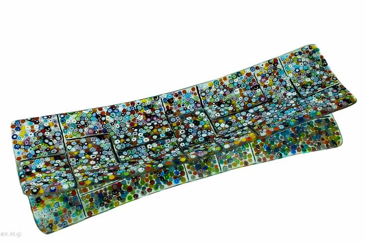 Piatto rettangolare in vetro di Murano con Murrina