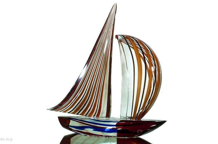 Murano Glass red and black sailboat