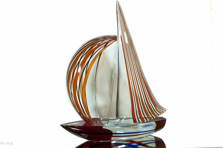 Murano Glass red and black sailboat