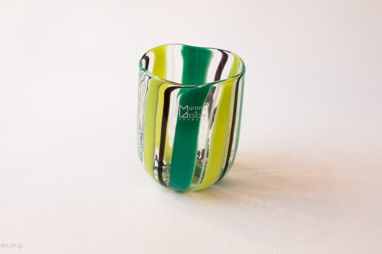 Murano Glass tumbler with vertical rolls of glass in different colors