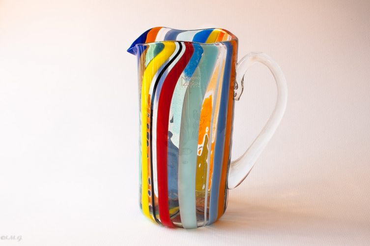 Murano Glass carafe with vertical rolls of glass in different colors