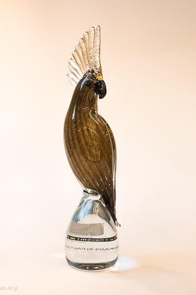 Murano Glass Brown Parrot on a base