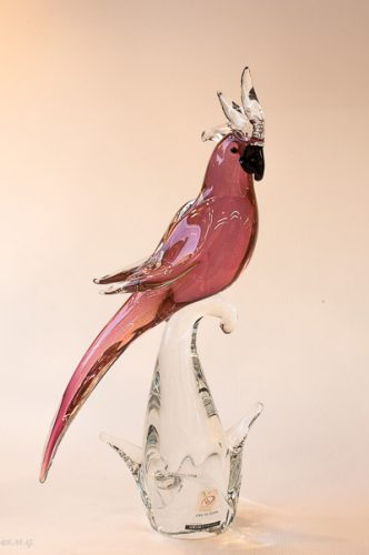 Murano Glass Ruby red parrot on a branch