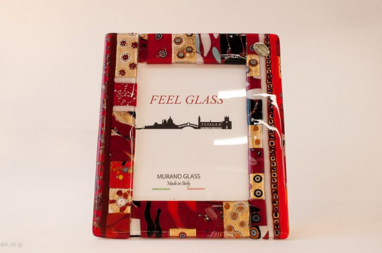 Murano Glass picture frame with red, gold and murrina