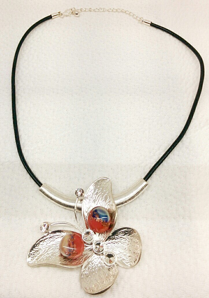 Necklace in the shape of a butterfly with glass beads
