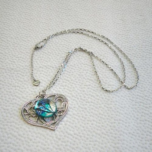 Heart shaped necklace with Murano glass bead and Crystals