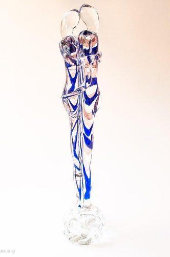 Scultura di amanti in vetro di Murano blu e trasparente