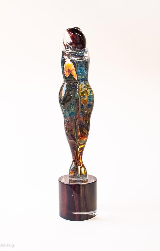 "Murano Glass Statue of lovers in ""Calcedonio"""