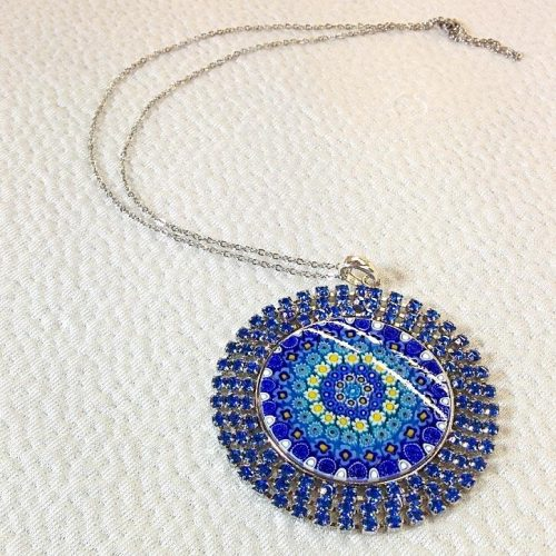 Blue Round pendant with Murrina and Swarovski Crystals