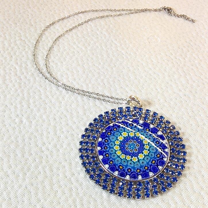 Blue Round pendant with Murrina and Swarovski Crystals