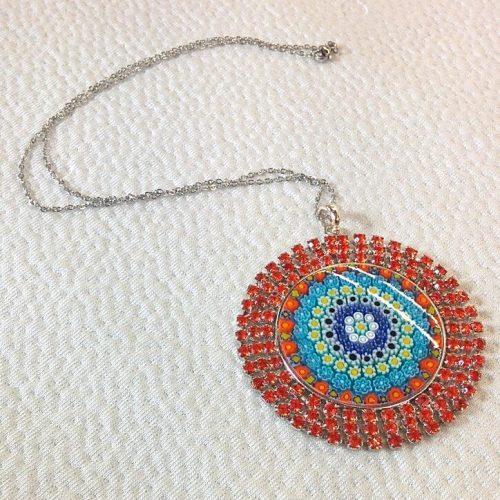 Red Round pendant with Murrina and Swarovski Crystals