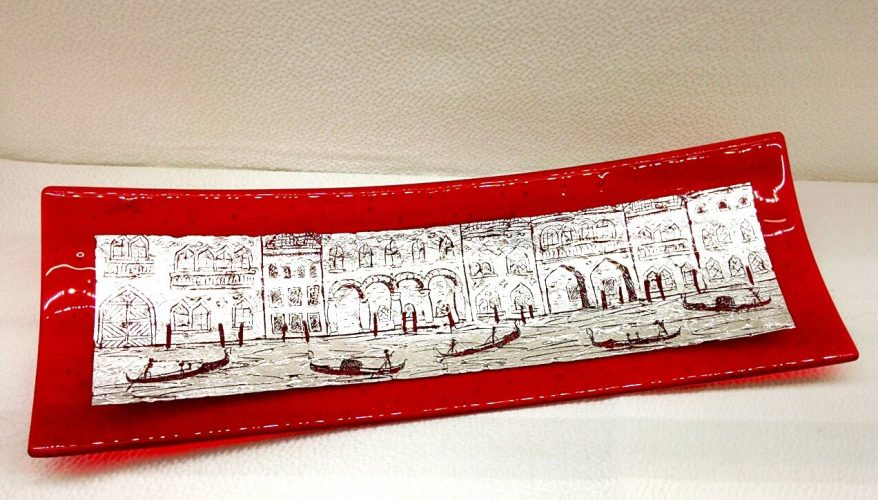 Murano Glass Red rectangular plate with silver leaf and engravings
