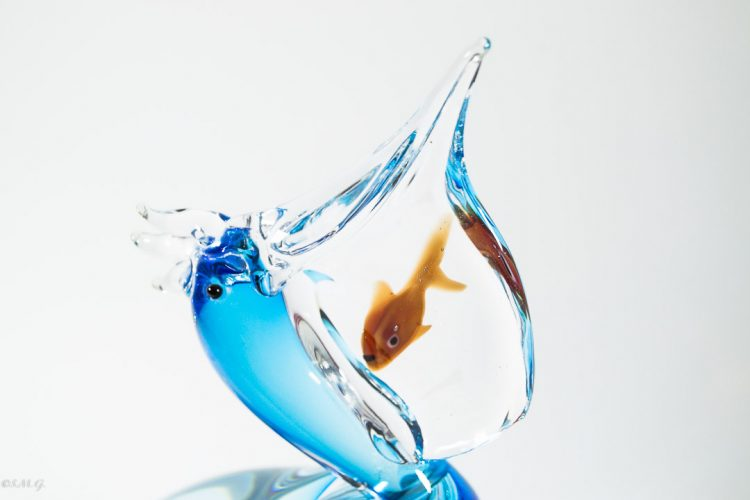 Details of Murano Glass Blue Pelican with a fish