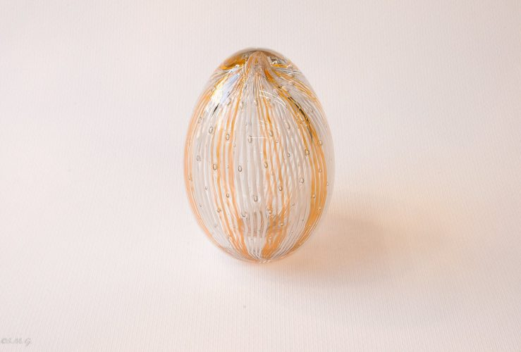 Murano Glass white and Honey coloured egg with
