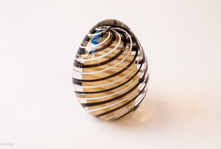 Murano Glass Golden egg with black and white stripes