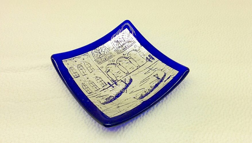 Murano Glass Blue square plate with silver leaf and engravings