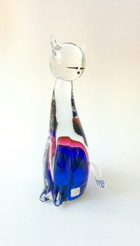 Murano Glass Big cat with clear glass and blue