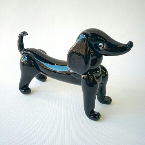 Murano Glass black dachshund