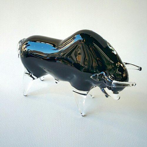 Murano Glass black bull
