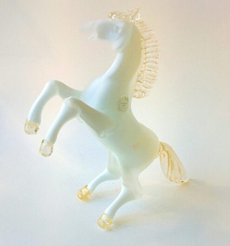 Murano Glass white horse with gold