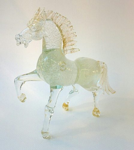 Murano Glass trotting horse with silver