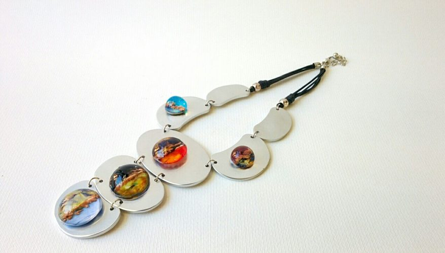 Murano Glass Necklace with glass beads on metal plates