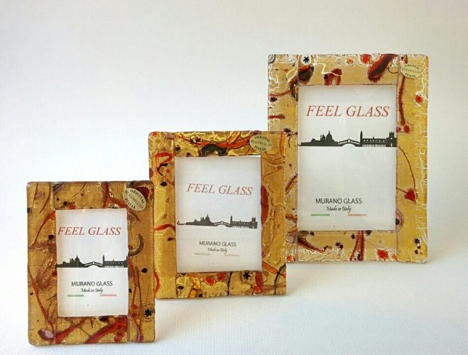 Three picture frames with murano glass and gold