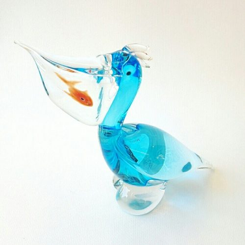 Murano Glass Blue Pelican with a fish