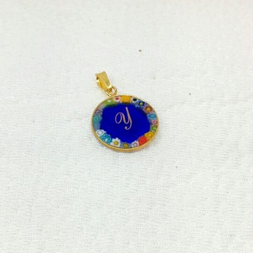 Murano Glass Round pendant with decal letter and Murrina