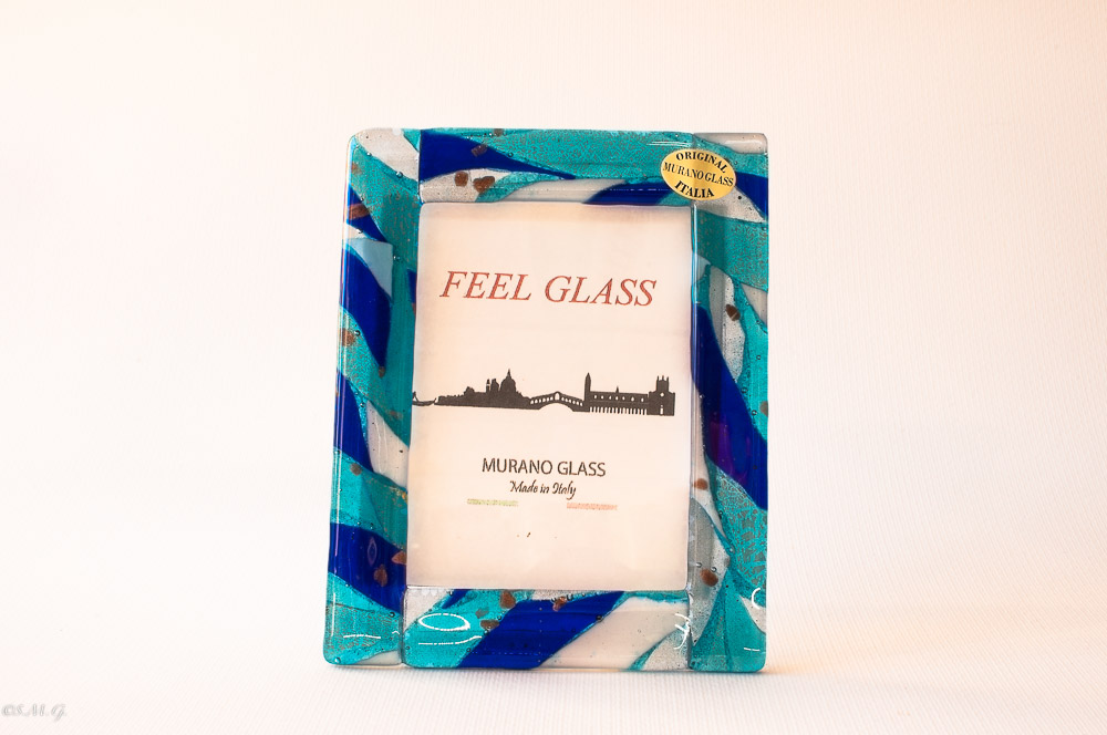 Murano Glass blue picture frame with gold
