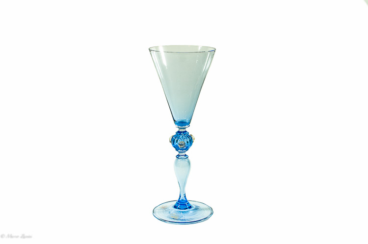 Light Blue Murano Glass Chalice with 3 dots on the stem Elite 03
