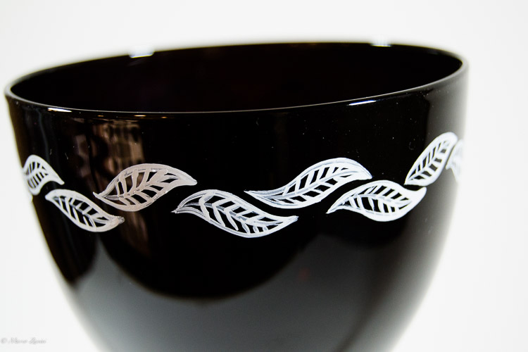 Details of a decoration on a cup of a Murano Glass black chalice