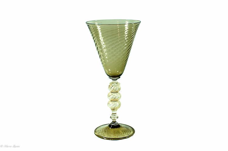Pink Murano Glass chalice in zigrinato technique Seguso 06