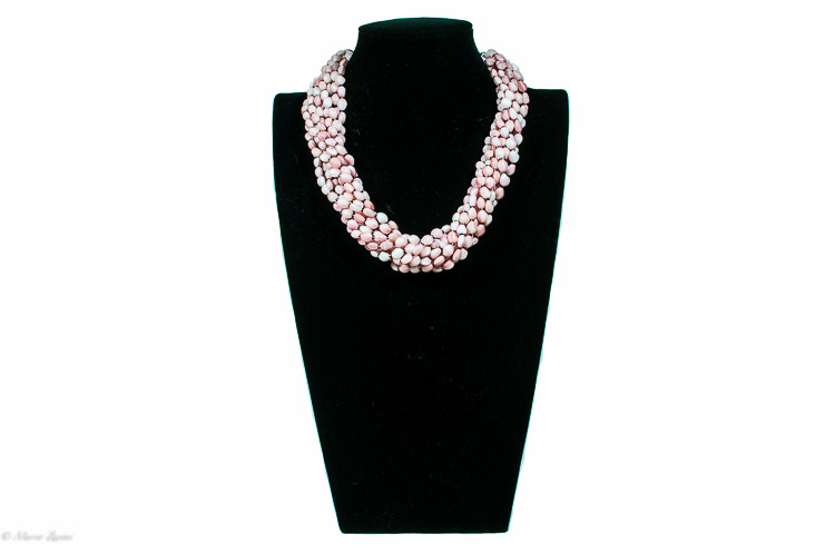 Murano glass necklace with satinee pink beads