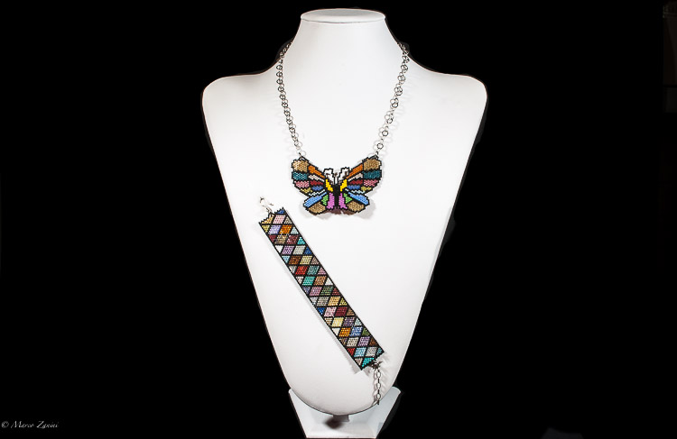 Murano glass necklace with Butterfly Pendant