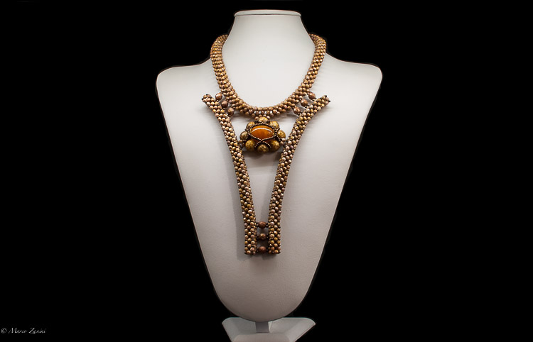 "Murano glass Necklace ""Conterie"" beads and Swaroski Crystals"