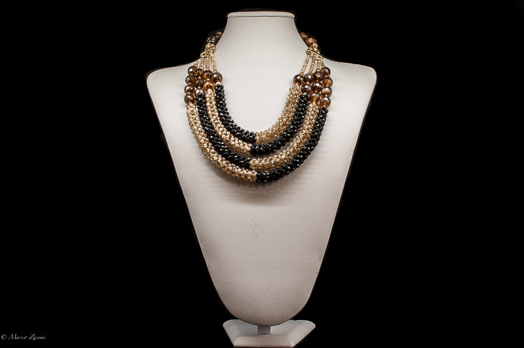 Murano glass Necklace in Brown and Black with Swaroski Crystals