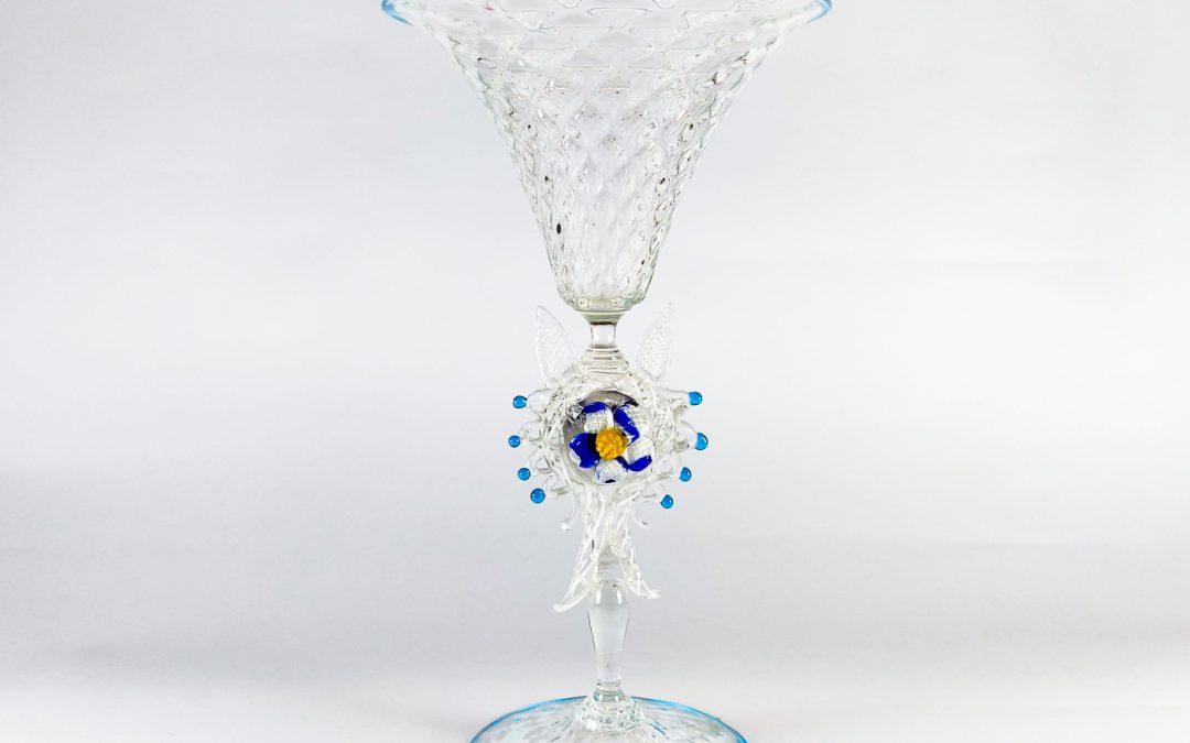 Coppa in vetro di Murano Battuta con gambo a fiore