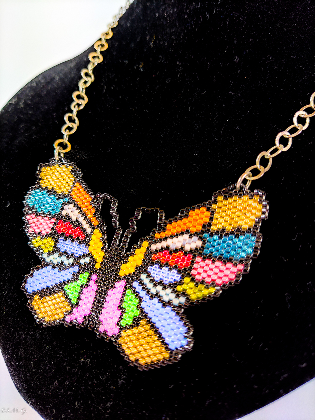 Butterfly shaped necklace with Murano Glass beads and silver chain