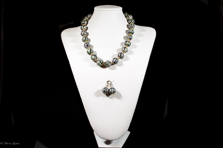 Murano Glass set with Ivory grey and avventurina beads