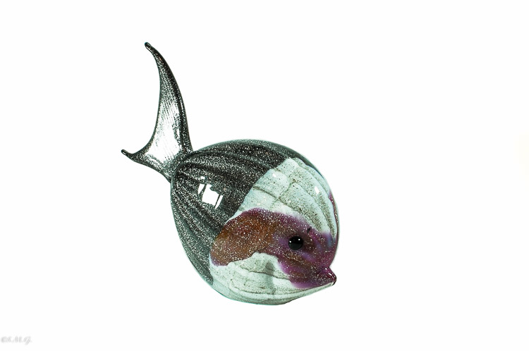 Murano Glass red and silver sea fish