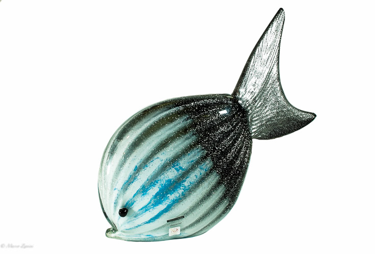 Blue Murano Glass fish with silver leaf inside