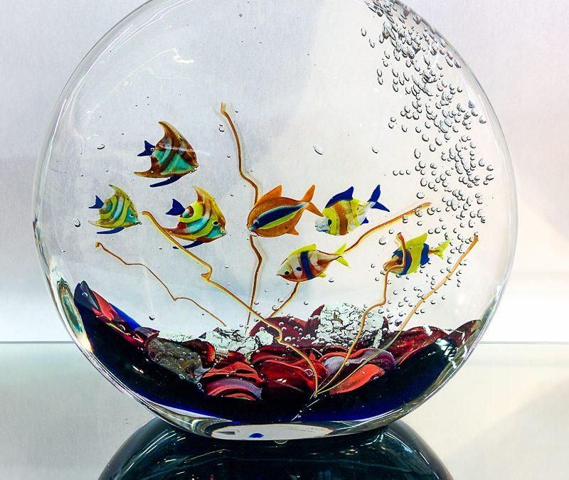 Murano Glass round Fish tank with 7 fish