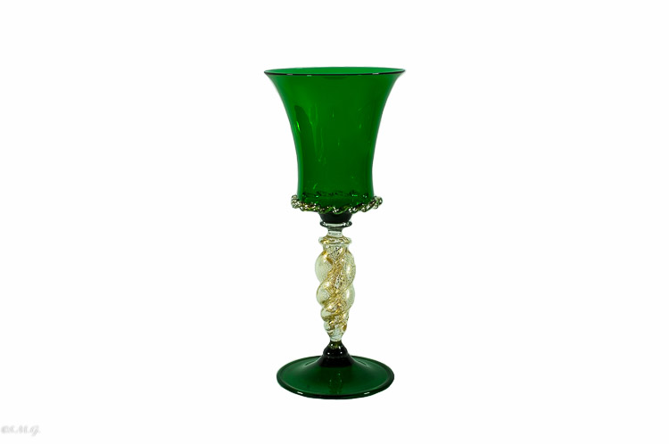 Calice verde in vetro di Murano con oro