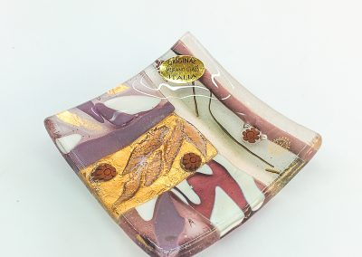 Purple Murano Glass plate with murrina and gold